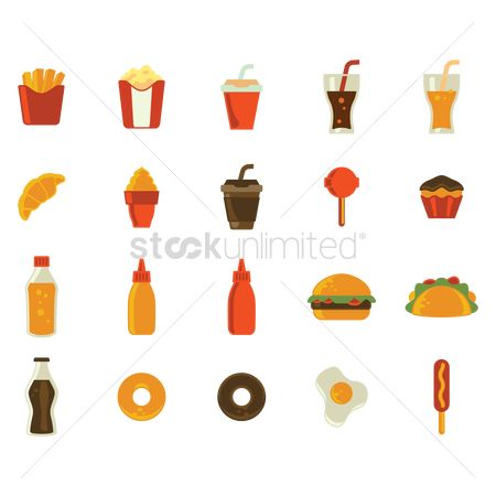 Croissant : Set of fast food icons