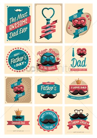Smoking pipe : Set of father s day labels