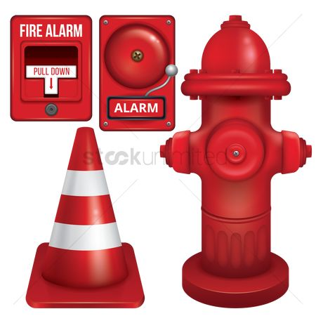 Caution : Set of fire station icons