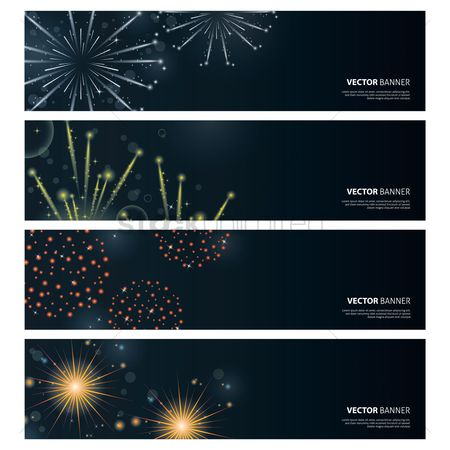 Sparkle : Set of fireworks banner