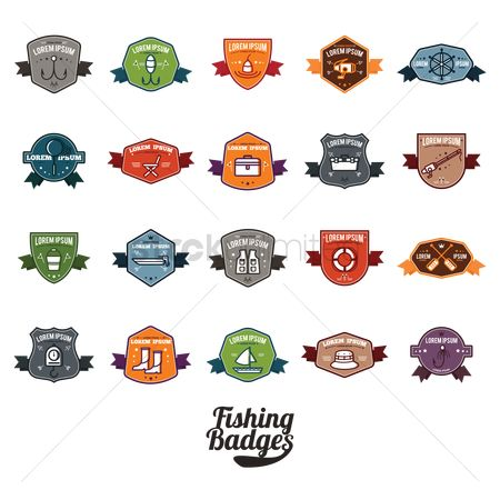 Paddle : Set of fishing badge icons