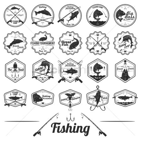 Reels : Set of fishing labels
