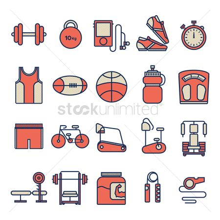 Machines : Set of fitness icons