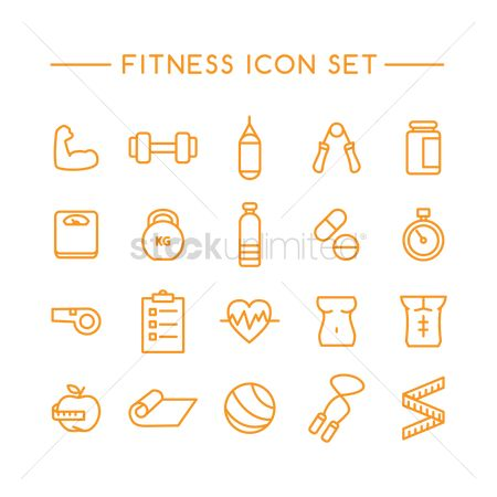 Health : Set of fitness icons