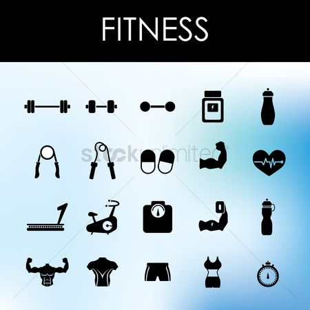 Dumb bell : Set of fitness icons