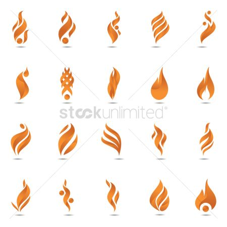 Fire : Set of flame logo designs