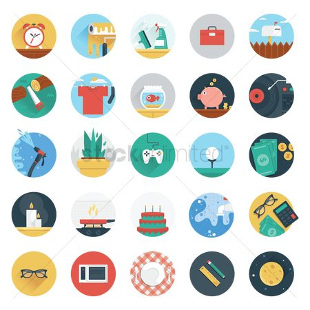 Stove : Set of flat design icon