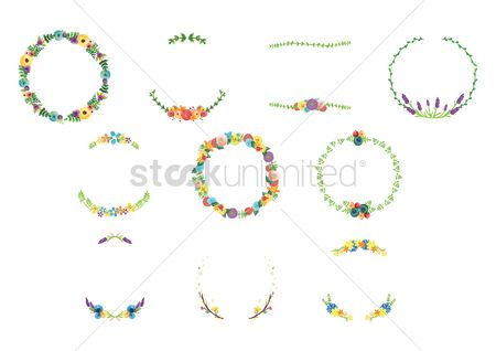 Decorations : Set of floral wreaths
