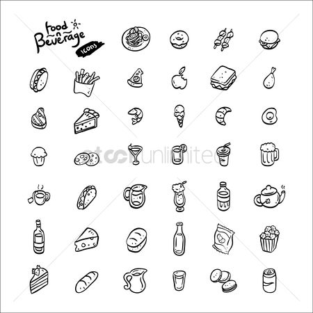 French : Set of food and beverage icons