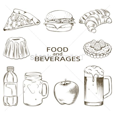 Burgers : Set of food and beverages