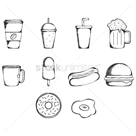 Take away cup : Set of food and beverages