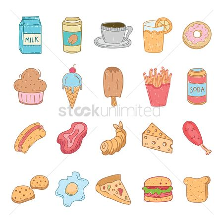 French : Set of food and beverages