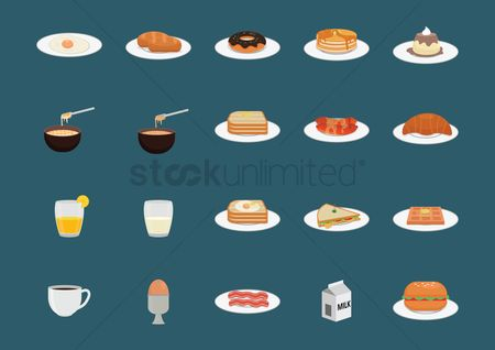 Croissants : Set of food dishes