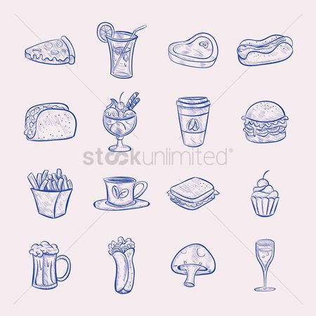 French : Set of food icons
