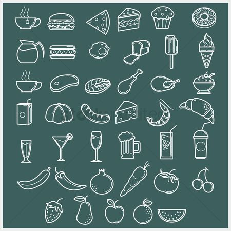 Drinking : Set of food icons