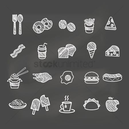Hotdogs : Set of food icons