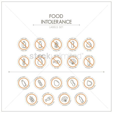 Wheats : Set of food intolerance label icons