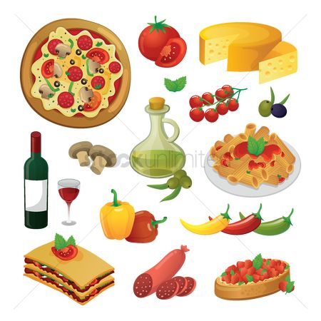 Pizzas : Set of food items