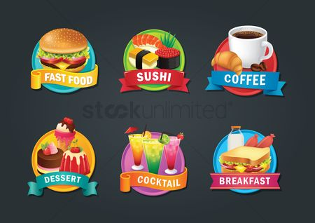 Burgers : Set of food items