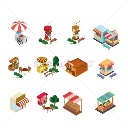 Shops : Set of food stall icons