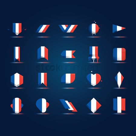 Patriotics : Set of france flag icons