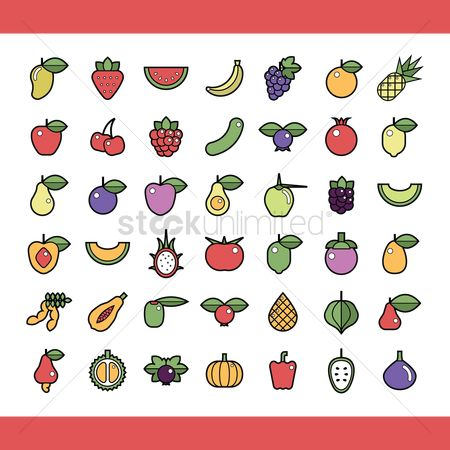 Mangoes : Set of fruit and vegetable icons