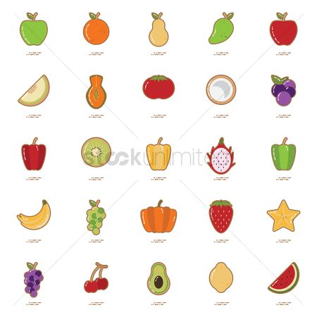 Watermelon slice : Set of fruit and vegetable icons