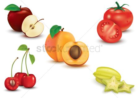 Slice : Set of fruit and vegetable