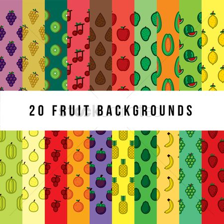 Fruit : Set of fruit backgrounds