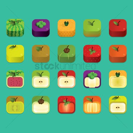 Red : Set of fruit icons