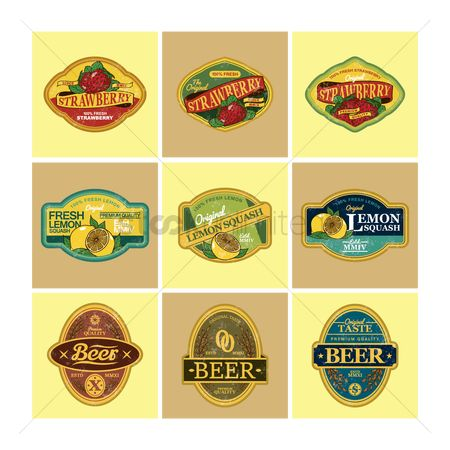 Wheats : Set of fruits and beer labels