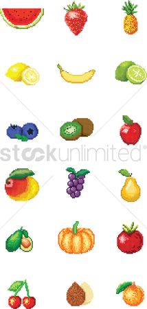 Mangoes : Set of fruits pixel art