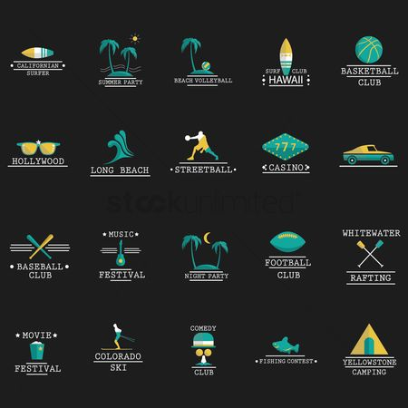 Seashore : Set of fun activities icons