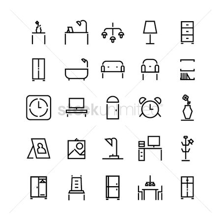 Timepiece : Set of furniture icons