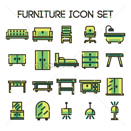 Interior : Set of furniture icons