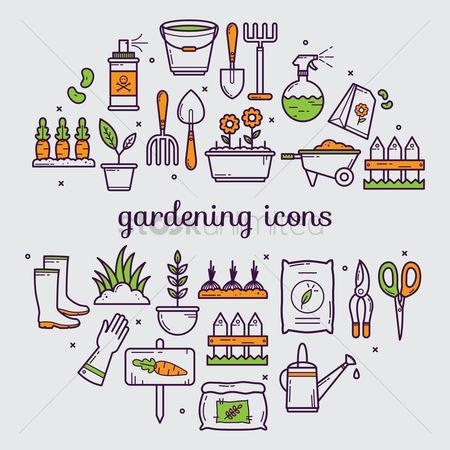 Fork : Set of gardening icons