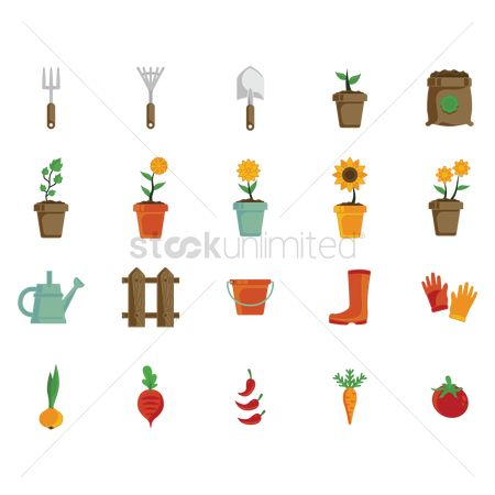 Agriculture : Set of gardening icons