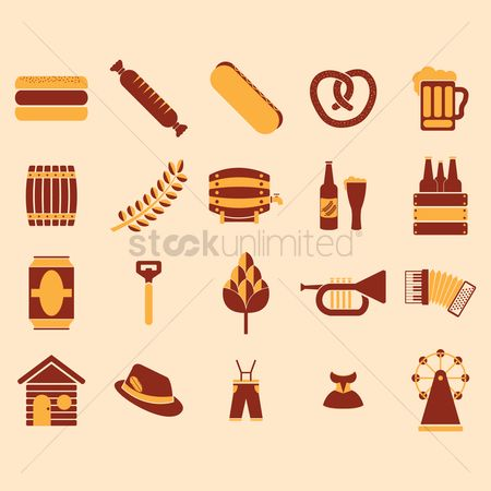 Hotdogs : Set of german octoberfest icons