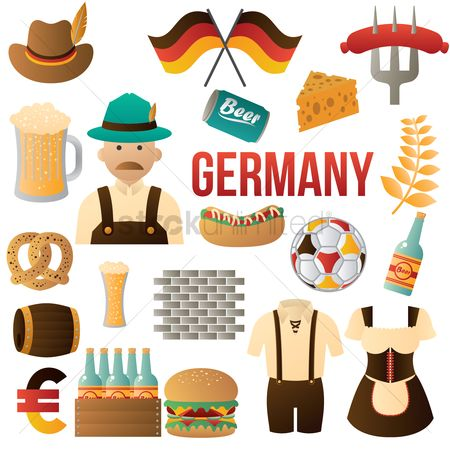 Hotdogs : Set of germany icons