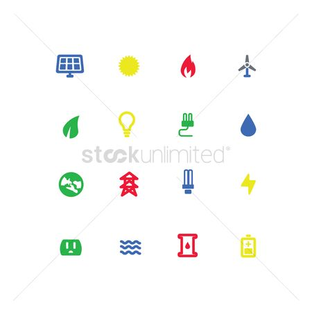High voltage : Set of go green concept icons