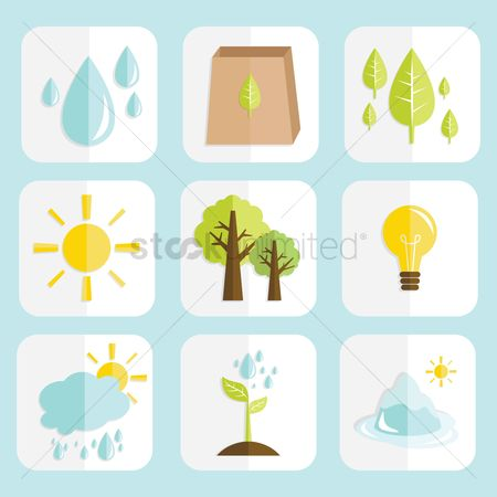 Save trees : Set of go green icons