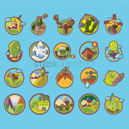 Mountains : Set of go green icons