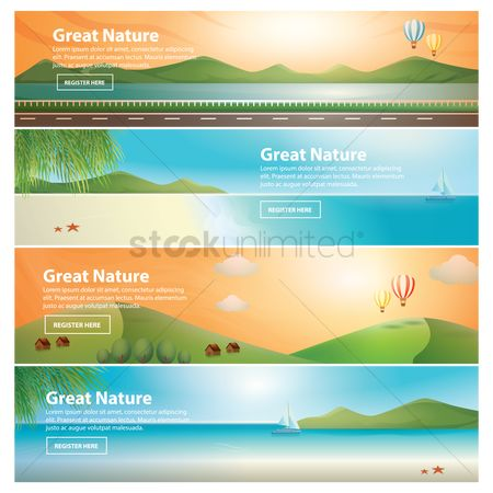 Summer : Set of great nature banners