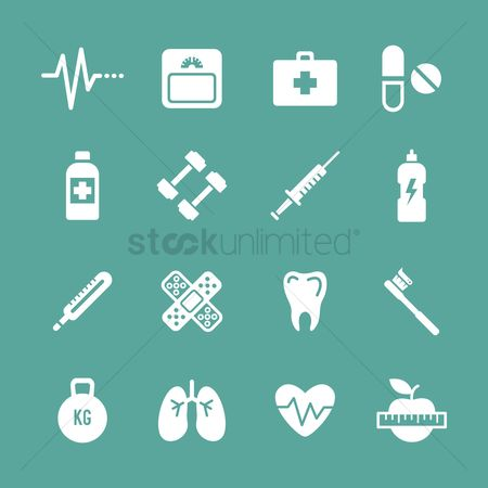 Weighing scale : Set of health icons