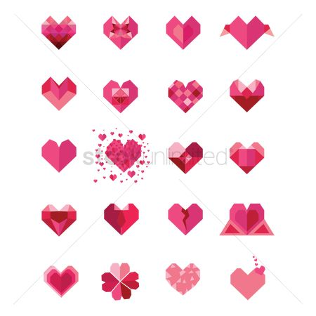 Geometrics : Set of heart icons
