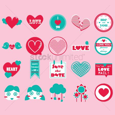 Love speech bubble : Set of heart icons