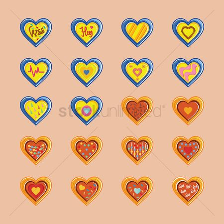 Cookies : Set of heart icons