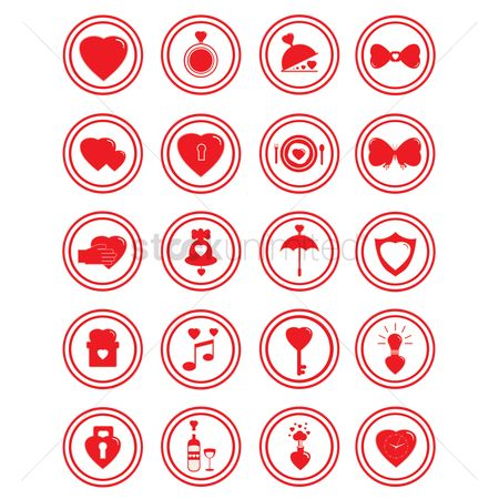 Dine : Set of heart icons