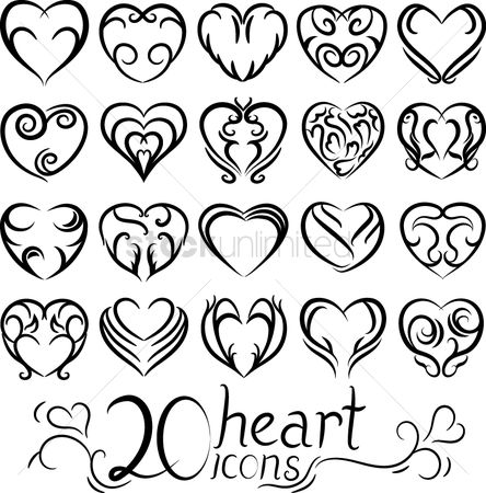 Love : Set of heart icons