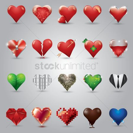 Drippings : Set of heart icons